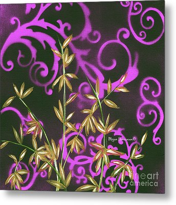 Tropical Floral Leaves Fine Art Painting In Magenta And Black By Megan Duncanson Metal Print