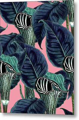 Tropical Flower Pattern Metal Print
