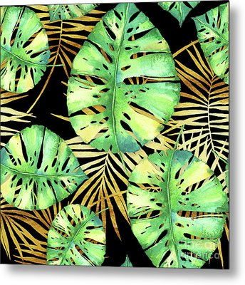 Tropical Haze Noir Variegated Monstera Leaves, Golden Palm Fronds On Black Metal Print
