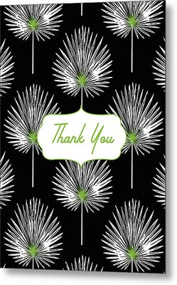 Tropical Leaf Thank You Black- Art By Linda Woods Metal Print