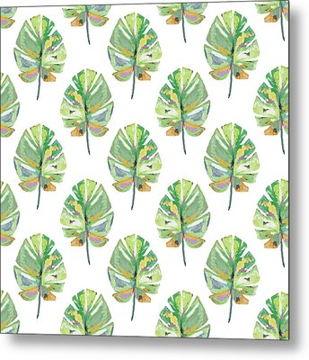 Tropical Leaves On White- Art By Linda Woods Metal Print by Linda Woods