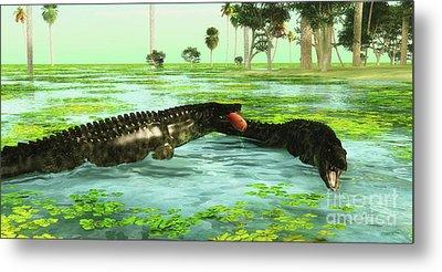Tropical Uberabasuchus Marine Reptiles Metal Print
