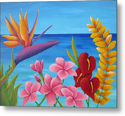 Tropical View Metal Print by Pamela Allegretto