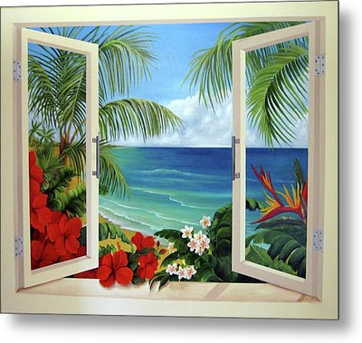Tropical Window Metal Print by Katia Aho