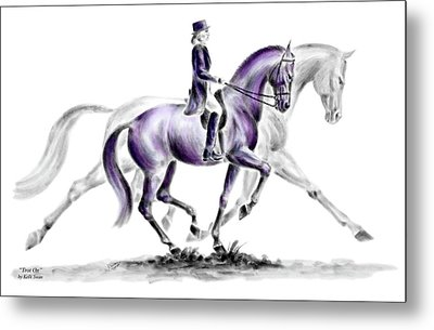 Trot On - Dressage Horse Print Color Tinted Metal Print
