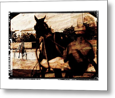 Metal Print featuring the photograph trotting 1 - Harness racing in a vintage post processing by Pedro Cardona