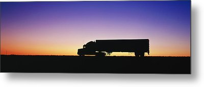 Truck Parked On Freeway At Sunrise Metal Print