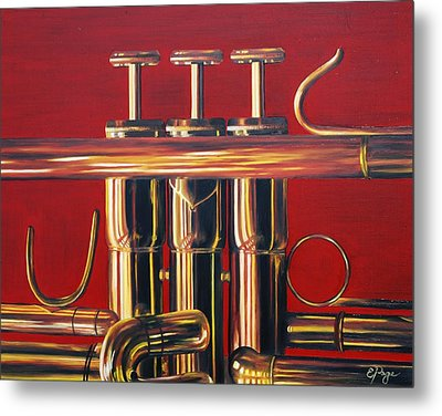 Trumpet In Red Metal Print by Emily Page