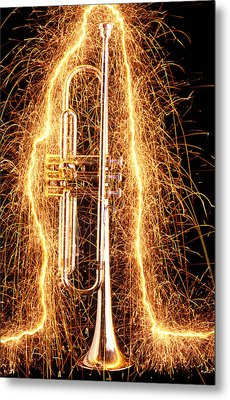 Trumpet Outlined With Sparks Metal Print by Garry Gay