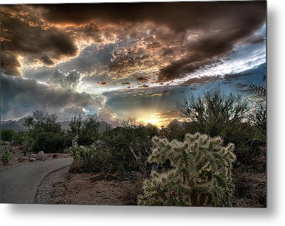 Metal Print featuring the photograph Tucson Mountain Sunset by Lynn Geoffroy