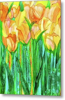 Metal Print featuring the mixed media Tulip Bloomies 1 - Yellow by Carol Cavalaris