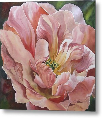 Metal Print featuring the painting Tulip In Pink by Alfred Ng