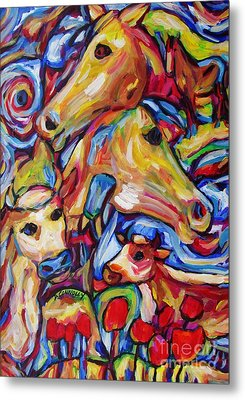 Tulippy Cows And Horses Metal Print by Dianne  Connolly