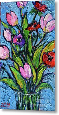 Tulips And Poppies - Impasto Palette Knife Oil Painting Metal Print