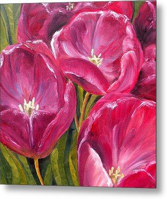 Metal Print featuring the painting Tulips by Diane Daigle