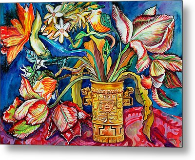 Tulips In Mexican Vase Metal Print by Yelena Tylkina