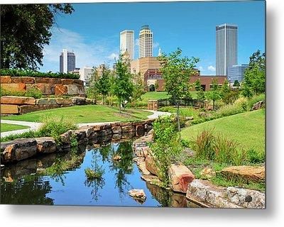 Tulsa Oklahoma Skyline View From Central Centennial Park Metal Print