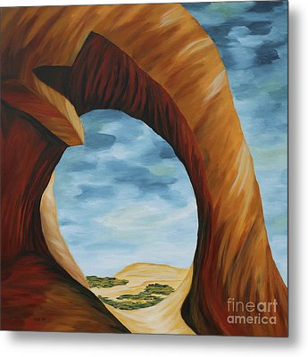 Tunnel Arch Painting Metal Print by Christiane Schulze Art And Photography
