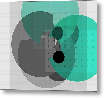 Turquoise And Gray Abstract Art Metal Print