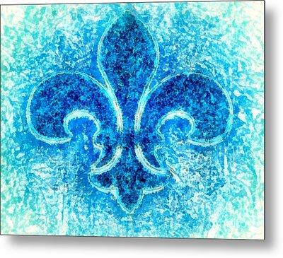 Turquoise Bleu Fleur De Lys Metal Print