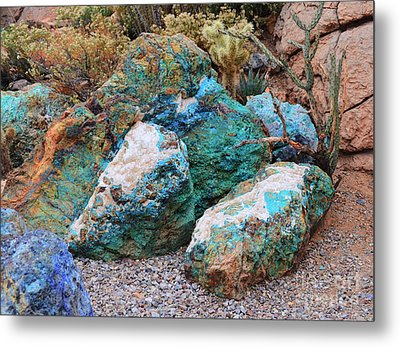 Turquoise Rocks Metal Print by Donna Greene
