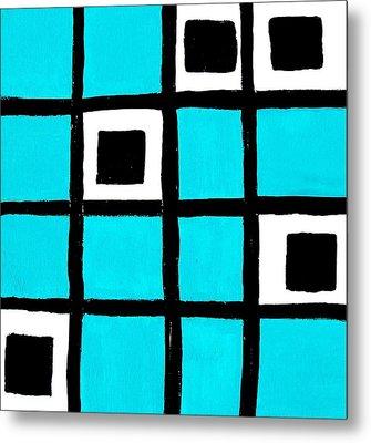 Turquoise Squares Metal Print by Marsha Heiken