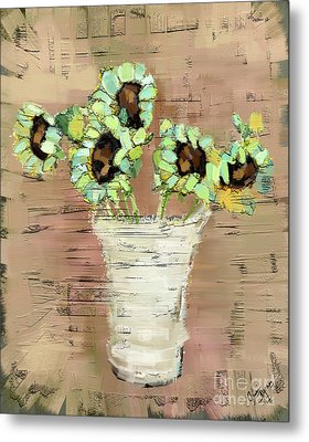 Metal Print featuring the painting Turquoise Sunflowers by Carrie Joy Byrnes