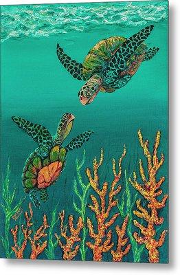 Metal Print featuring the painting Turtle Love by Darice Machel McGuire