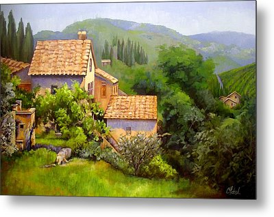 Metal Print featuring the painting Tuscan Village Memories by Chris Hobel