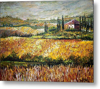 Metal Print featuring the painting Tuscan Wheat by Lou Ann Bagnall