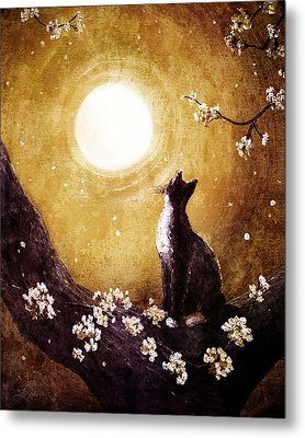 Tuxedo Cat In Golden Cherry Blossoms Metal Print by Laura Iverson