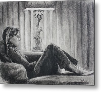 Metal Print featuring the drawing Tv Trance by Rachel Hames