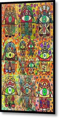 Twelve Hamsas Metal Print by Sandra Silberzweig