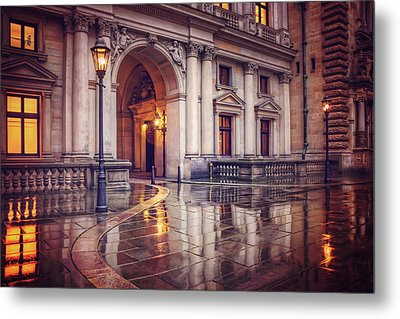 Twilight At Hamburg Town Hall Courtyard  Metal Print by Carol Japp
