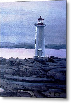 Metal Print featuring the painting Twilight At Peggy's Cove by Patricia L Davidson