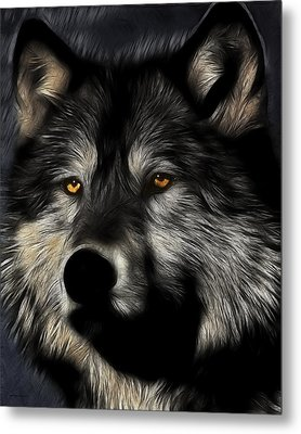 Twilight Eyes Of The Lone Wolf Metal Print by Wingsdomain Art and Photography