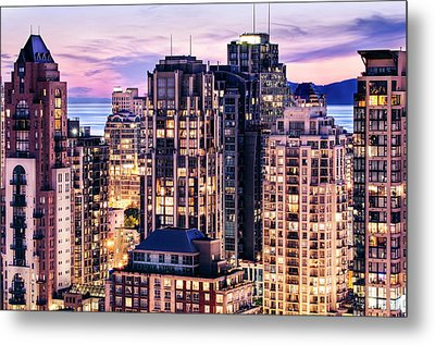 Twilight Over English Bay Vancouver Metal Print by Amyn Nasser