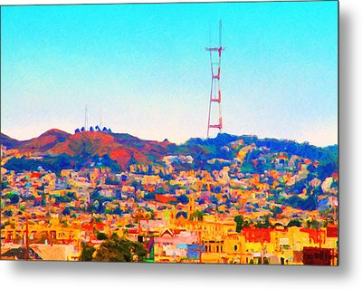 Twin Peaks In San Francisco Metal Print by Wingsdomain Art and Photography