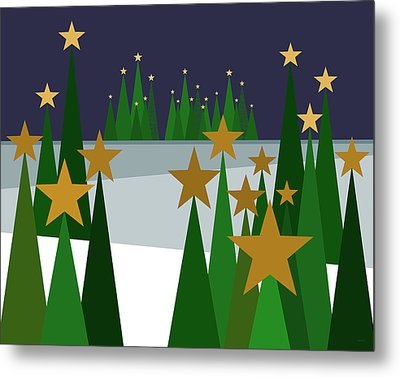 Twinkling Forest Metal Print by Val Arie