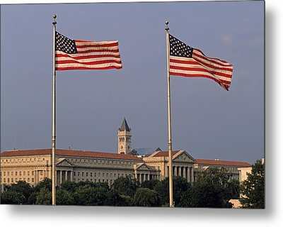 Two American Flags With Old Post Office Building Metal Print by Sami Sarkis