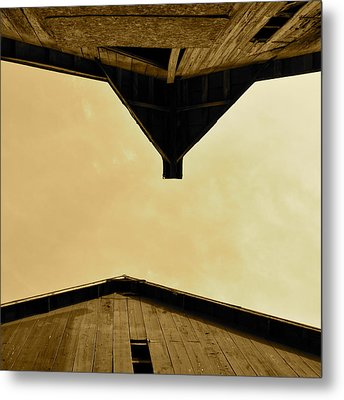 Two Barns In Sepia Metal Print