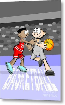 Two Basketball Players Face Off On Possession Of The Ball Metal Print