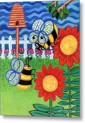 Two Bees With Red Flowers Metal Print by Genevieve Esson