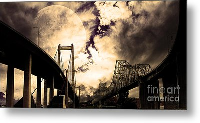 Two Bridges One Moon Metal Print by Wingsdomain Art and Photography