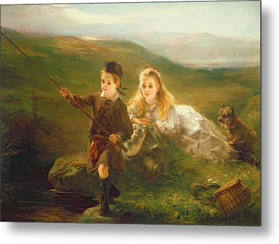 Two Children Fishing In Scotland   Metal Print by Otto Leyde