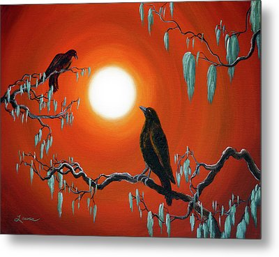 Two Crows On Mossy Branches Metal Print by Laura Iverson