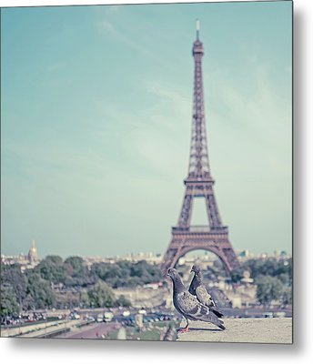 Two Doves In Front Of Eiffel Tower Metal Print by Cindy Prins