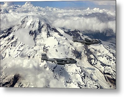 Two Ea-6b Prowlers Fly In Formation Metal Print by Stocktrek Images