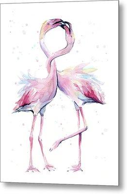Two Flamingos Watercolor Famingo Love Metal Print by Olga Shvartsur