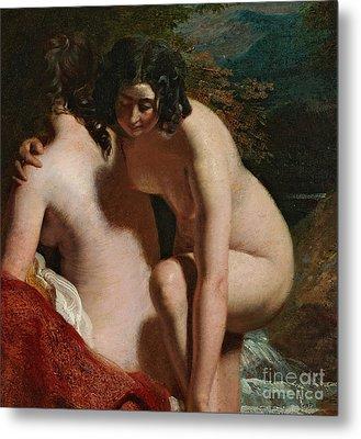 Two Girls Bathing Metal Print by William Etty